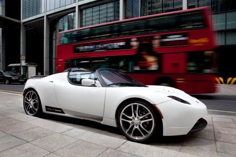A Tesla electric roadster