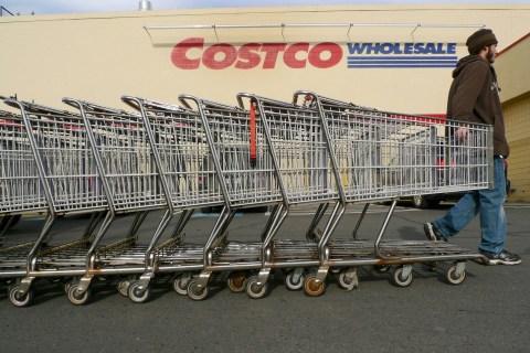 Shopping carts at a Costco store in Fairfax, Va.