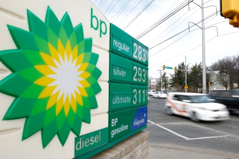 A BP gas station sign
