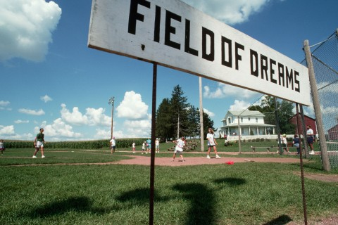 Tourists Playing Ball at the Field of Dreams