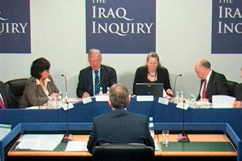 Video grab image shows Britain's former Prime Minister Blair addressing the Iraq Inquiry, in central London