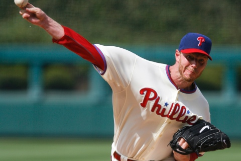 Philies starting pitcher Halladay throws to the Mets during the second inning of their National League MLB baseball game in Philadelphia Pennsylvania