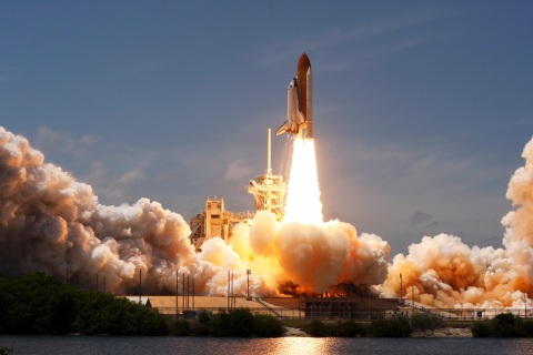 Space shuttle Atlantis lifts off on a mission to the International Space Station from the Kennedy Space Center in Cape Canaveral