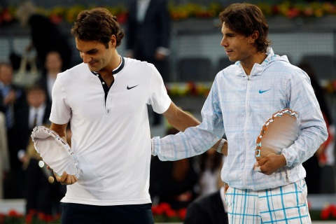 Roger Federer and Rafael Nadal at the Madrid Masters
