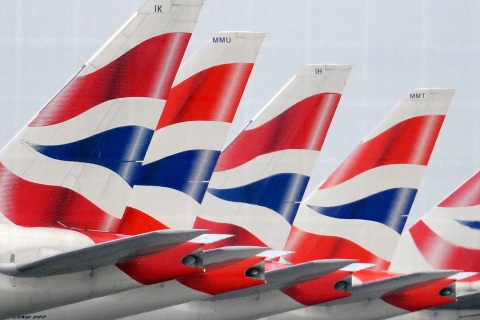File photograph shows British Airways aircraft standing at Heathrow Airport in west London
