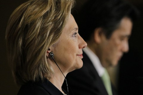 U.S. Secretary of State Hillary Clinton and Katsuya Okada attend a joint news conference in Tokyo