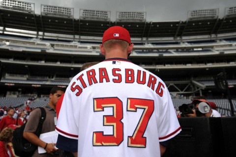 The Washington Nationals hold a news conference to introduce Stephen Strasburg, the top selection in the 2009 First Year Player Draft, at the Nationals Park
