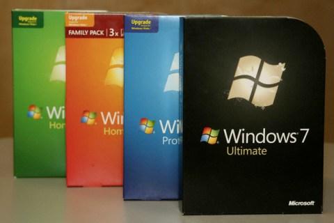 Copies of Microsoft Windows 7 are displayed in Redmond, Washington