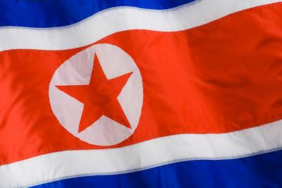 Close up of North Korean flag