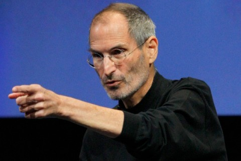 Apple Inc. CEO Steve Jobs points to a member of the audience during a Q&A session at the end of the iPhone OS4 special event at Apple headquarters in Cupertino