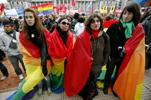 PROTESTS AGAINST AND IN FAVOR OF HOMOSEXUAL MARRIAGE IN BUENOS AIRES