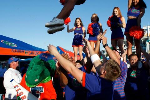 Florida Gators cheerleaders perform before NCAA's BCS National Championship football game in Miami