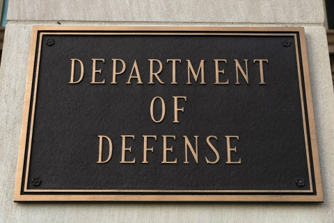 A sign at the Department of Defense is pictured at the Pentagon in Washington