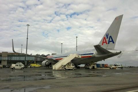 American Airlines Boeing 767-300 stands on tarmac in Reykjavik Keflavik International Airport