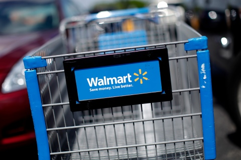 A Wal-Mart cart is seen at the parking lot of a Wal-Mart market in Miami, Florida