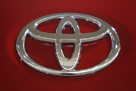 A Toyota Motor Corp logo is pictured in a showroom in Tokyo