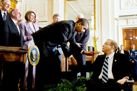 U.S. President Barack Obama shakes hands with Rep. Jim Langevin in 2009