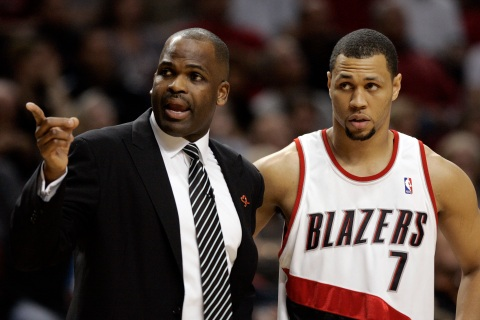 Portland Trail Blazers Head Coach Nate McMillan and Guard Brandon Roy