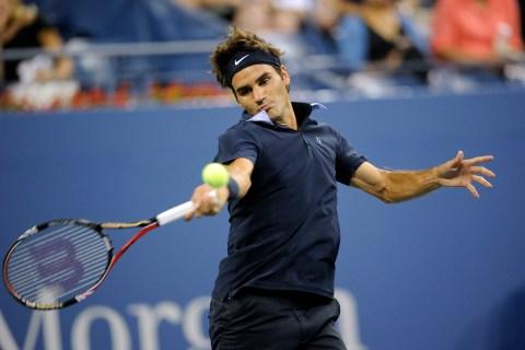 Swiss tennis player Roger Federer return