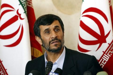 Iranian President Mahmoud Ahmadinejad speaks to reporters on nuclear issue