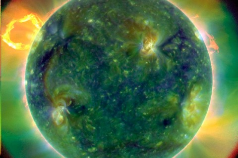 Ultraviolet image showing temperature ranges of the Sun