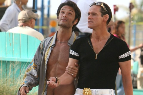 """Jim Carrey on the set of """"I Love You Phillip Morris"""" In Miami Beach"""