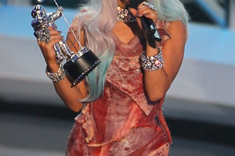 Lady Gaga accepts the award for video of the year while wearing a meat dress at the 2010 MTV Video Music Awards in Los Angeles
