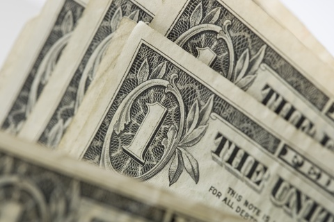 Close Up of One Dollar Bills