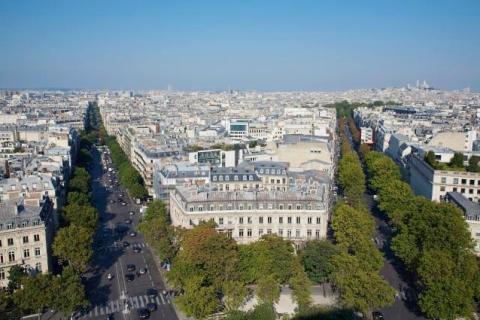Aerial View of Paris From the Arc de Triomphe, Looking Towards Montmartre and La Basilique du Sacre Coeur, Paris, France