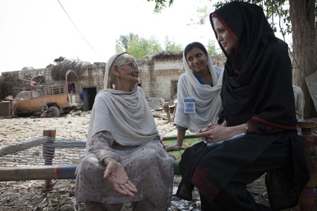 Actress Angelina Jolie meets 64-year-old Zenul Hawa