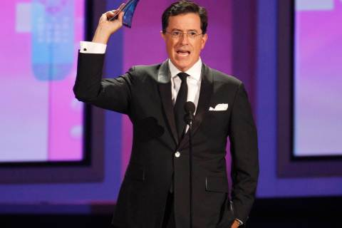 Comedian Stephen Colbert presents an award at the 62nd annual Primetime Emmy Awards in Los Angeles