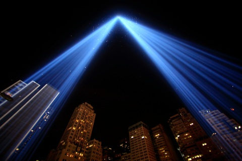 The Tribute in Lights illuminates the sky over lower Manhattan on the ninth anniversary of the attack on the World Trade Center in New York