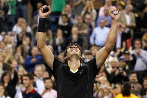 Nadal of Spain celebrates his victory against Djokovic of Serbia during the men's final at the U.S. Open tennis tournament in New York