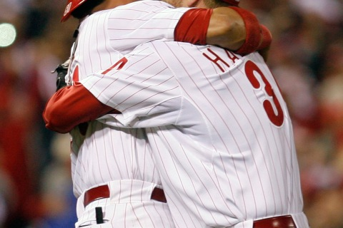 Phillies starting pitcher Halladay celebrates after throwing a no-hitter against the Reds in Game 1 of the MLB National League Division Series baseball playoffs in Philadelphia
