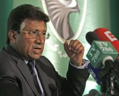 Pakistan's former president Pervez Musharraf gives a news conference at the launch of his party in London