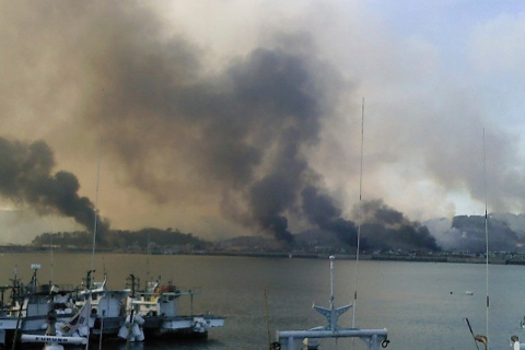 Smoke rises from South Korean Yeonpyeong Island after being hit by dozens of shells fired by North Korea