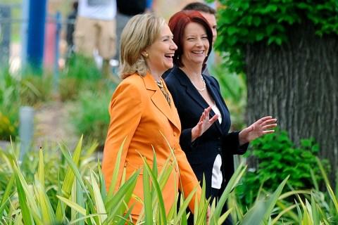 Secretary of State Clinton and Australia's Prime Minister Gillard in Melbourne, Australia