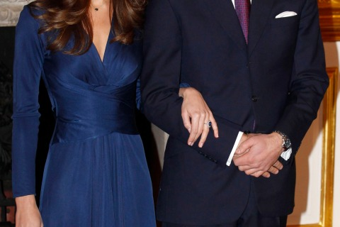 File photo of Britain's Prince William and his fiancee Kate Middleton posing for a photograph in St. James's Palace in central London
