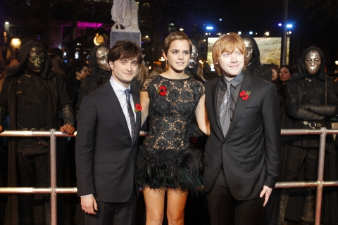Daniel Radcliffe, Emma Watson, Rupert Grint at the World Premiere of Harry Potter and the Deathly Hallows Part 1