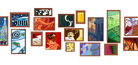 Google's 2010 holiday doodle has 17 interactive images that approximate the logo's letters and colors