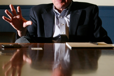 Senator-elect Bernie Sanders is interviewed by a Reuters reporter at Sanders' office in Burlington