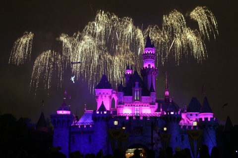 A new fireworks show premieres above the Sleeping Beauty Castle during Disneyland's 50th anniversary party.