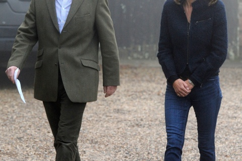 The parents of Kate Middleton, Michael and Carole, prepare to read a statement to the media outside their home near Bucklebury, in southern England