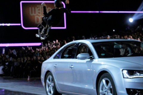 """Samuel Koch attempts to jump over a car during the German game show """"Wetten Dass"""" (Bet it...?) in Duesseldorf"""