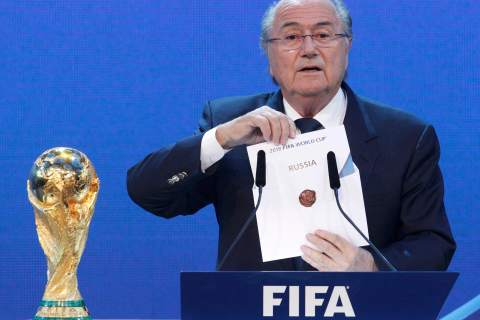 FIFA President Sepp Blatter announces Russia as the host nation for the FIFA World Cup 2018