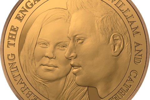 The commemorative coin to mark the engagement of Prince William and Kate Middleton