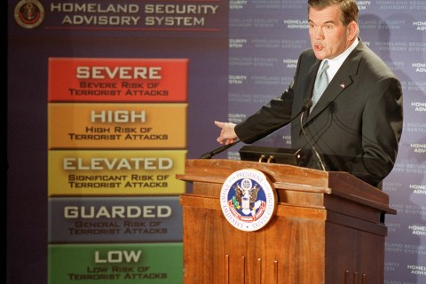 Homeland Security Chief Tom Ridge points to a new
