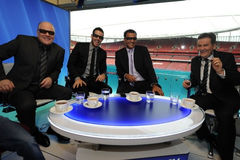 Andy Gray (left) and Richard Keys (right) at the first live 3D TV football match broadcast by Sky