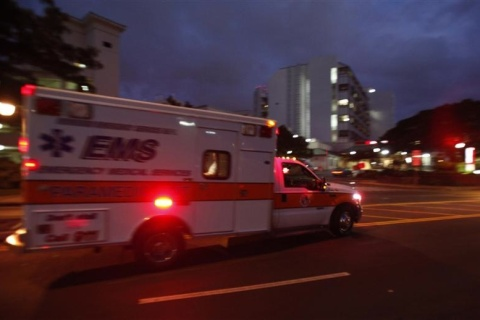 An ambulance pulls into the emergency entrance at Queens Medical Center in Honolulu, Hawaii
