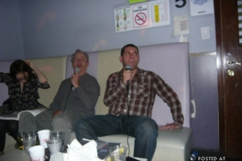 Bill Murray at a karaoke night in New York